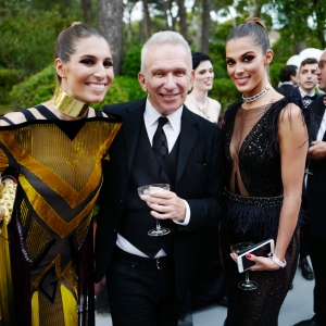 Laury Thilleman,Jean-Paul Gaultier and Iris Mittenaere, the amfAR Gala Cannes 2017