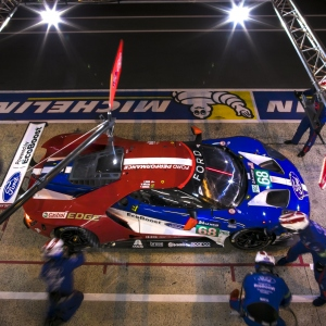 The Number 68 Ford Chip Ganassi Racing GT comes in for a pit stop during the Le Mans 24 Hour race in France
