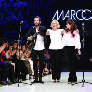 The designer Karin Veit and the band Lola Marsh attend the Marc Cain Fashion Show
