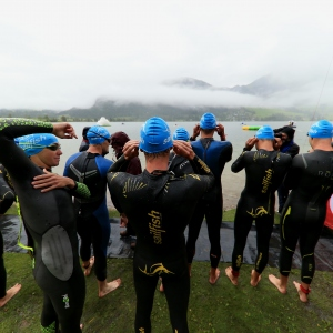 Athletes prepare at the swim start during the Challenge Walchsee-Kaiserwinkl