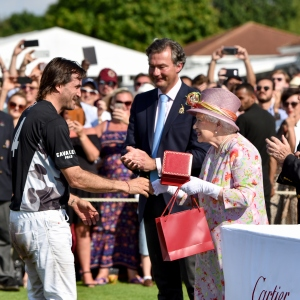 Facundo Pieres, Laurent Feniou, HRH The Queen, the Cartier Queen's Cup Polo at Guards Polo Club