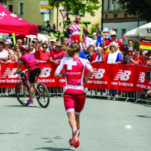 Daniela Ryf of Switzerland runs in the first lap of the DATEV Challenge Roth 2017