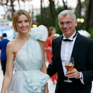 Model Petra Nemcova and Designer Arik Levy, the amfAR Gala Cannes 2017