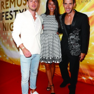 Joern Schloenvoigt, Hanna Weig and Marcel Remus attend the Remus Lifestyle Night