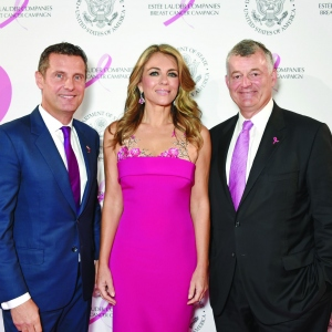 Philippe Warnery, Elizabeth Hurley and William P. Lauder attend the 25th Anniversary of the Breast Cancer Campaign