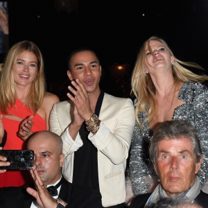 Doutzen Kroes,Olivier Rousteing and Lara Stone, the amfAR Gala