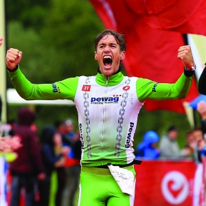 Thomas Steger of Austria celebrates winning the Challenge Walchsee-Kaiserwinkl