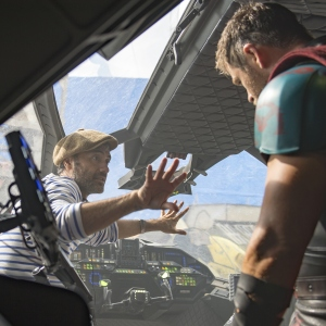 On set with Director Taika Waititi and Chris Hemsworth
