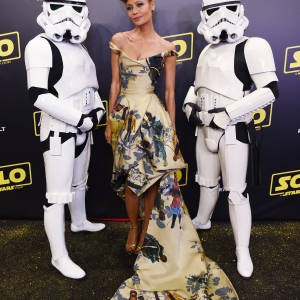 Actresess Thandie Newton and Stormtroopers