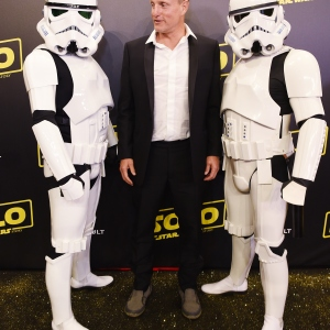 Actor Woody Harrelson and Stormtroopers
